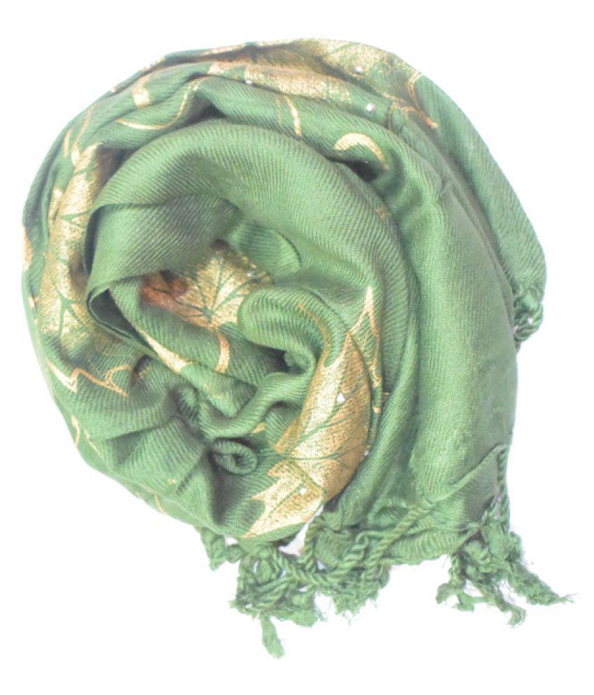Maukshi Green Printed Poly Cotton Yarn Stoles
