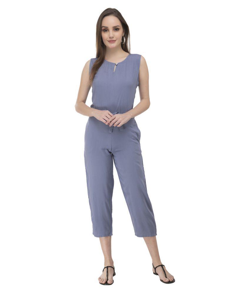 Fair Crafts Blue Rayon Jumpsuit