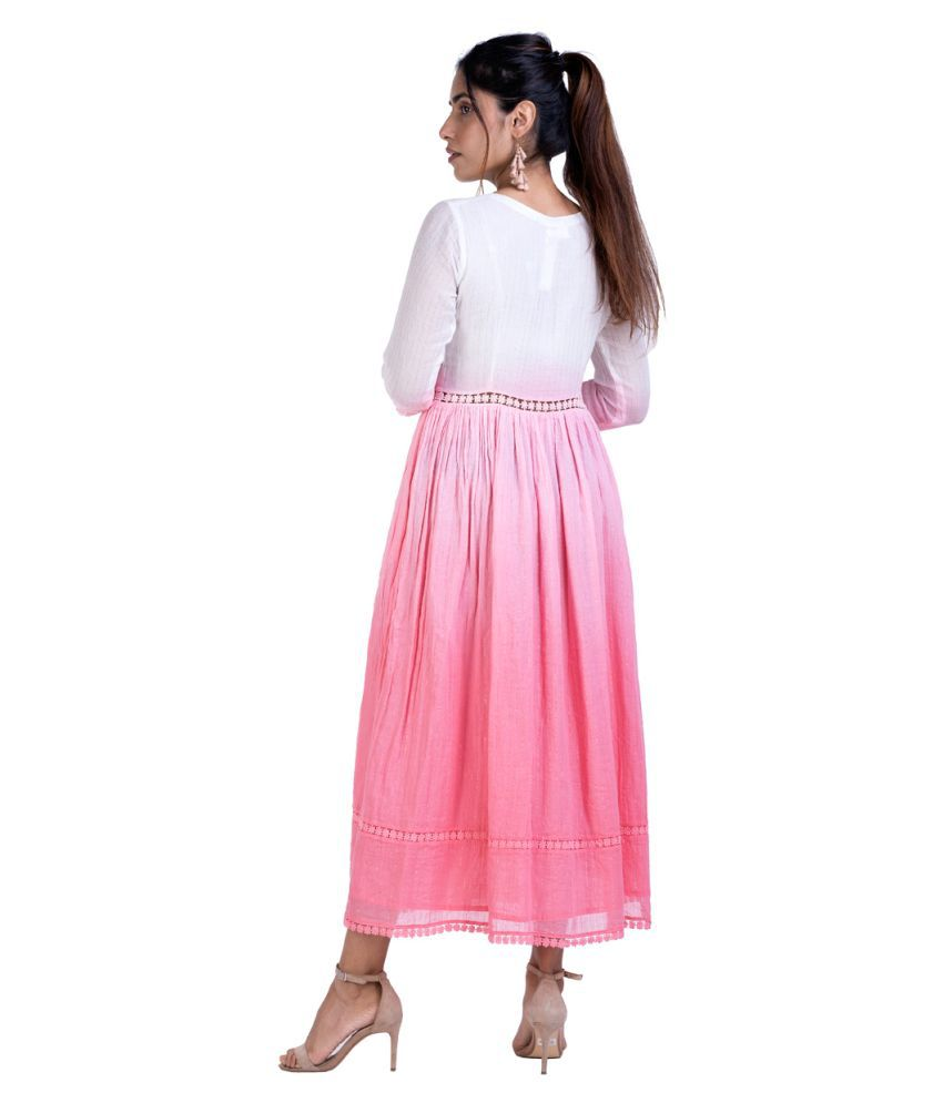 ANGELETE Cotton Pink Asymmetric dress