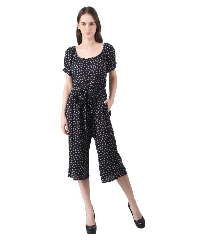 Mansi Collections Black Viscose Jumpsuit