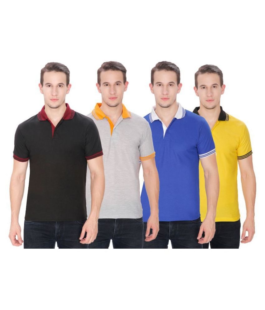 Faded Finch Other Cotton Blend Multi Plain Polo T Shirt