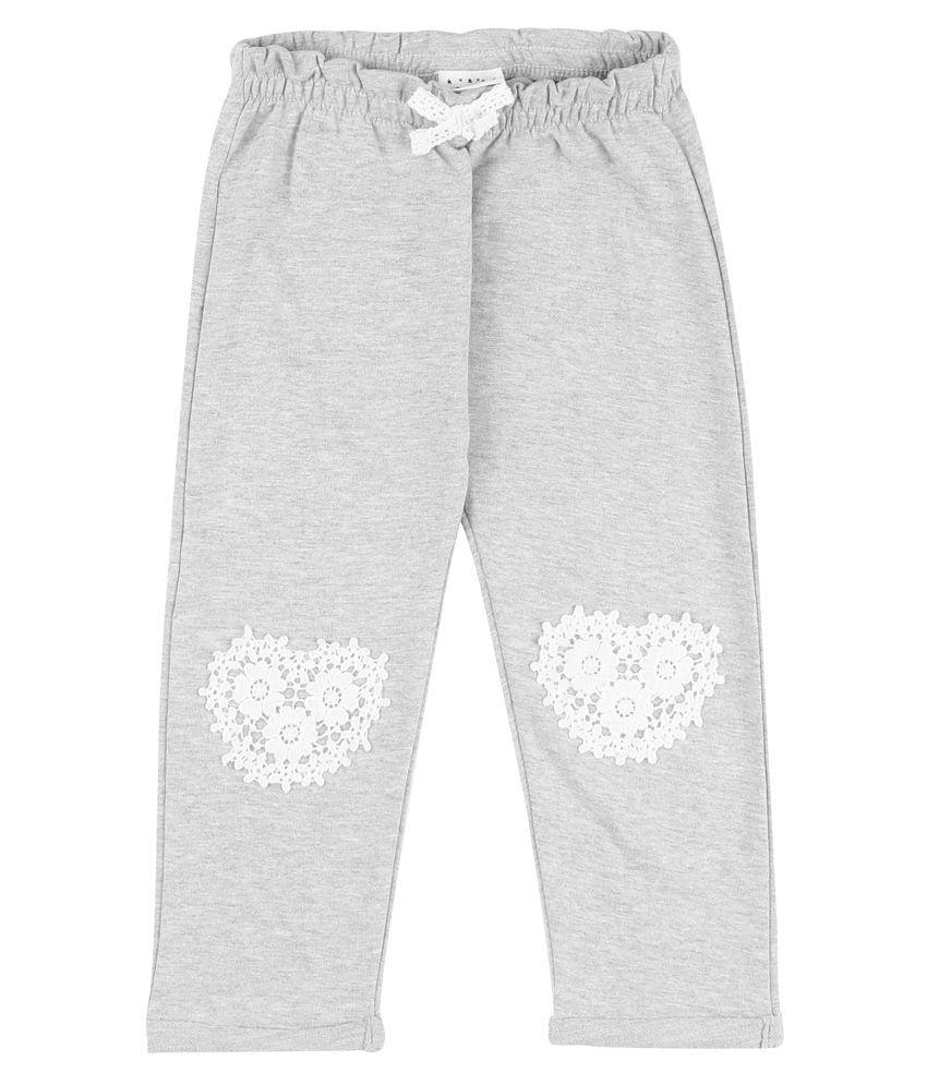Girls Lace Applique Cotton Track Pants
