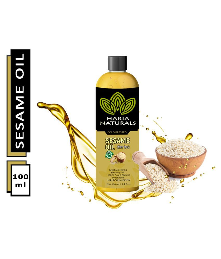 Haria Naturals 100% Cold Pressed Extra Virgin Sesame Oil For Body, Skin & Hair Oil 100 ml