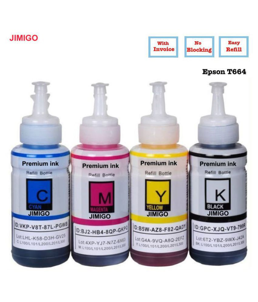 JIMIGO na Multicolor Pack of 4 Ink bottle for Refill ink for Epson L130,L210,L220,L350,L360,L361,L365,L380,L385,L455,L485,L550,L555,L565