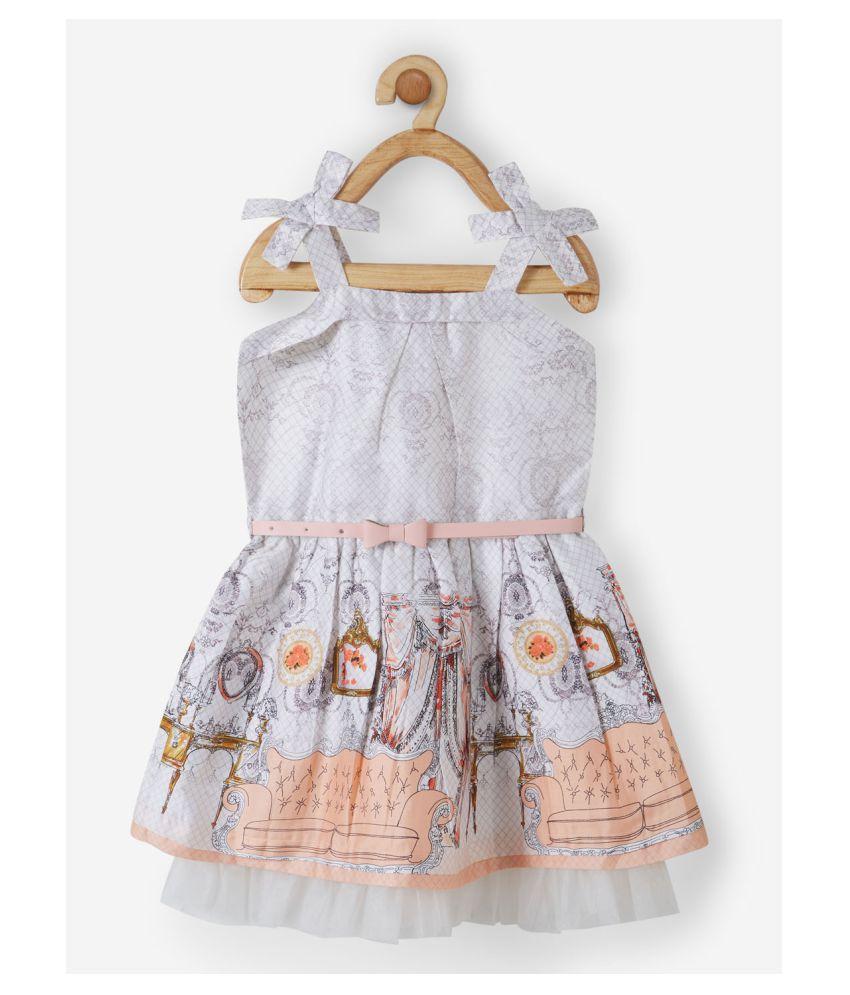 Powderfly Girl's Cotton Orange Square Neck Printed Dress