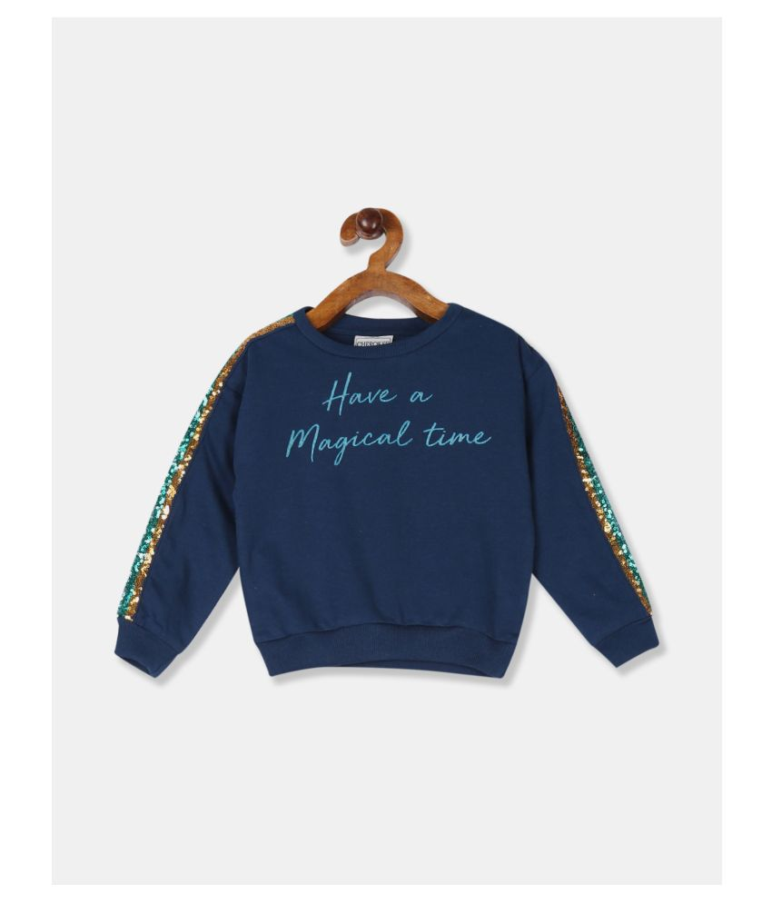 Girls Blue Embellished Sleeve Graphic Sweatshirt
