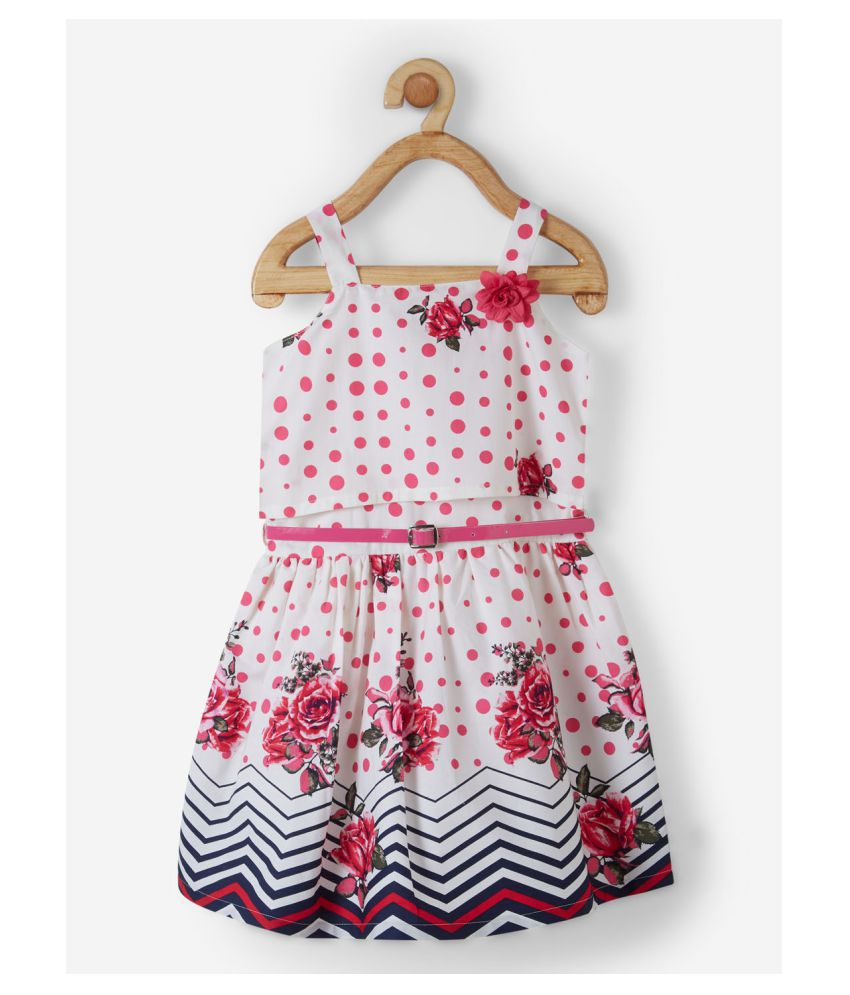 Powderfly Baby Girl's Cotton Pink Square Neck Floral Print Dress
