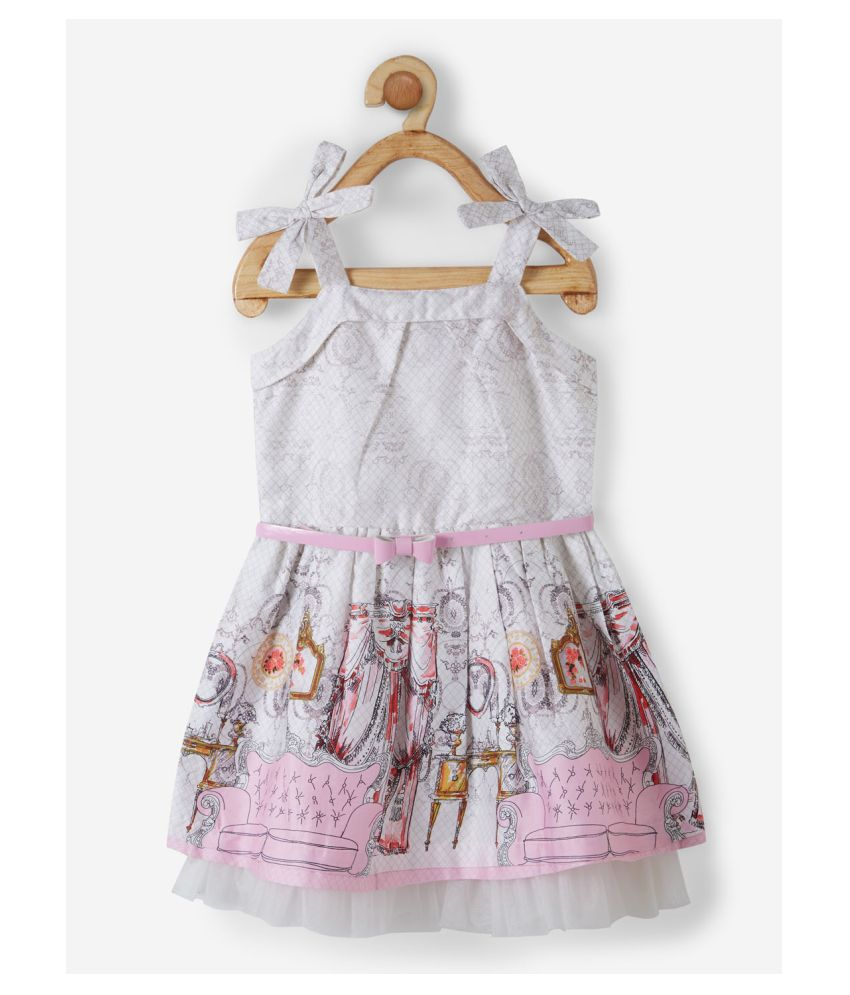 Powderfly Baby Girl's Cotton Pink Square Neck Printed Dress