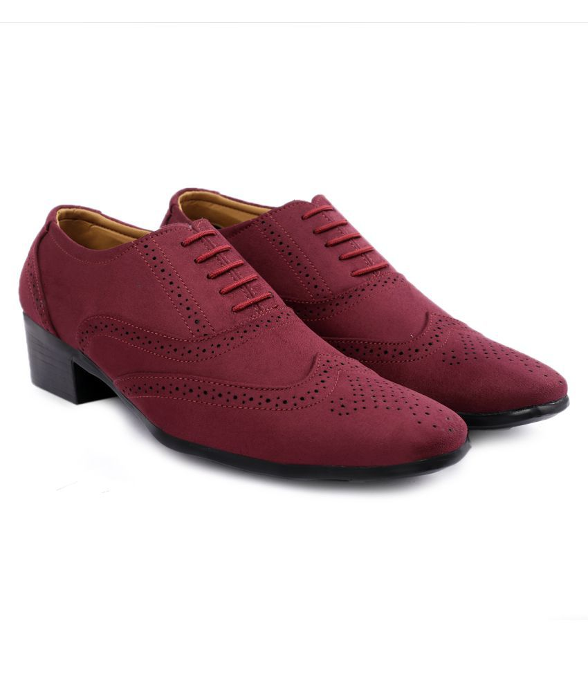 YUVRATO BAXI Party Artificial Leather Red Formal Shoes