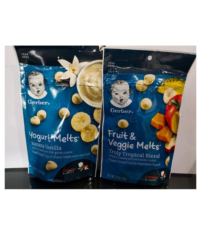 Gerber Baby Food BANANA,TROPICAL BLEND Snack Foods for 6 Months + ( 56 gm )