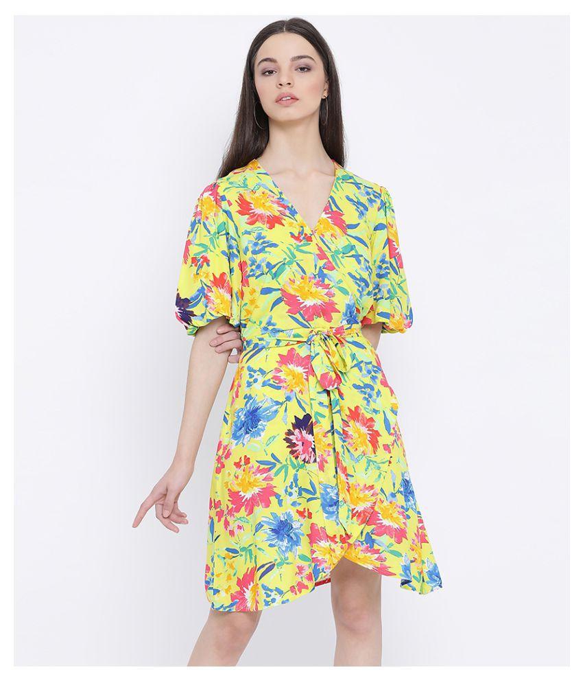 Oxolloxo Viscose Yellow A- line Dress