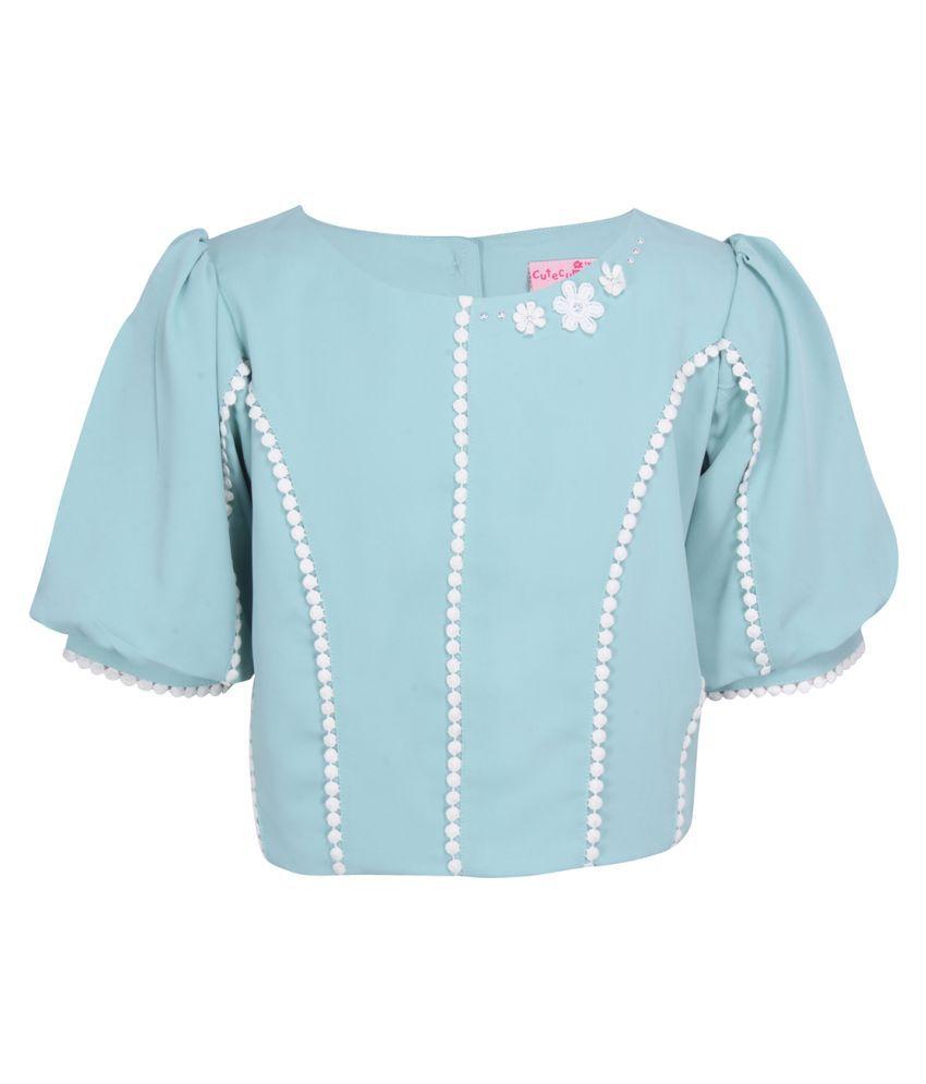Cutecumber Partywear solid Short Sleeves Top