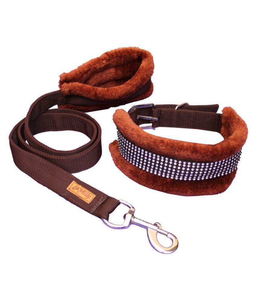 Petshop7 Premium Quality Fur Padded  Nylon Dog Collar & Leash Large (Neck Girth Size - 16-22inch)