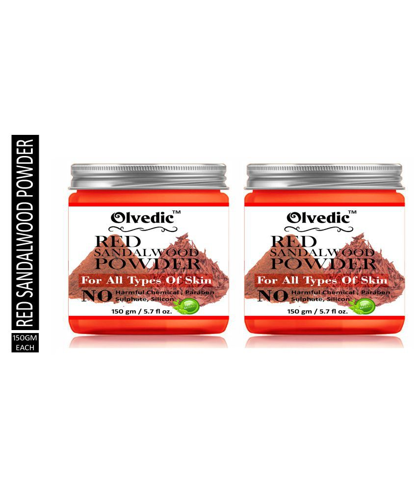 olvedic 100% Pure Organic Red Sandalwood ( CHANDAN ) Powder Face Pack Masks 300 gm Pack of 2