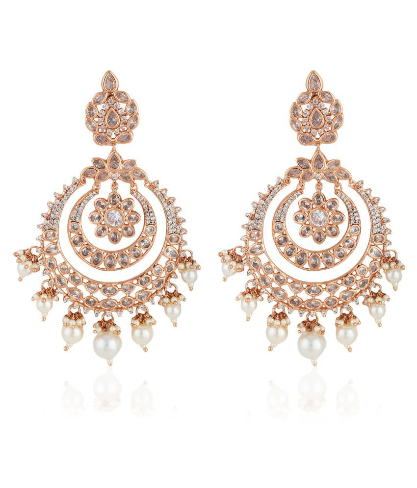 Estele 24Kt Rose Gold Plated Chandbali with AD stones - Long Traditional Earrings