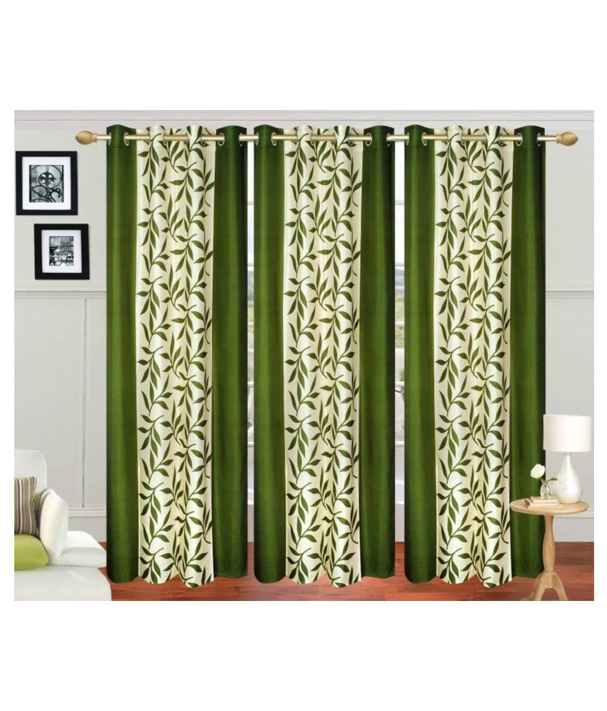 Handloom Hub Set of 3 Long Door Eyelet Polyester Curtains Green
