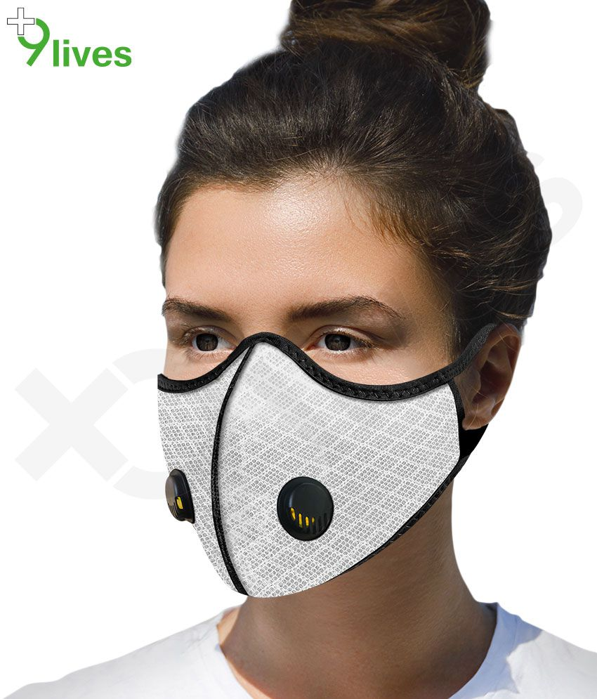 9Lives 4 Layer Protection Reusable Mask  ( White , Pack of 1 MASK )