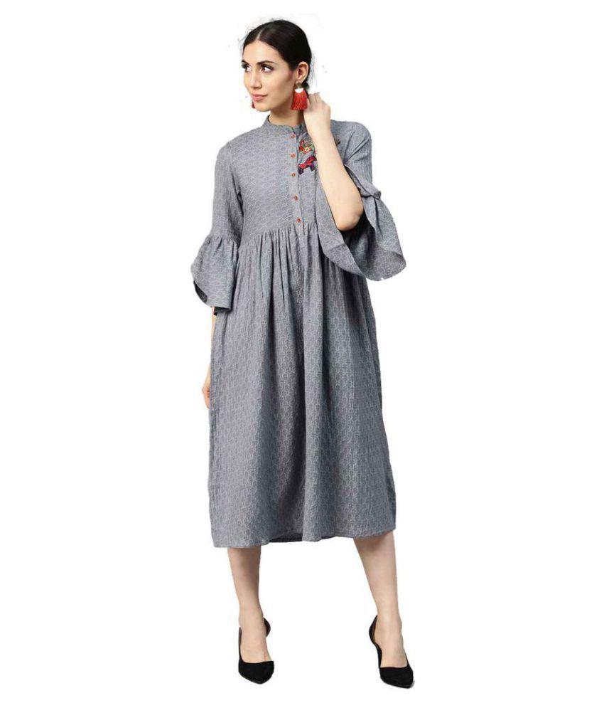 Jaipur Kurti Viscose Grey Dresses