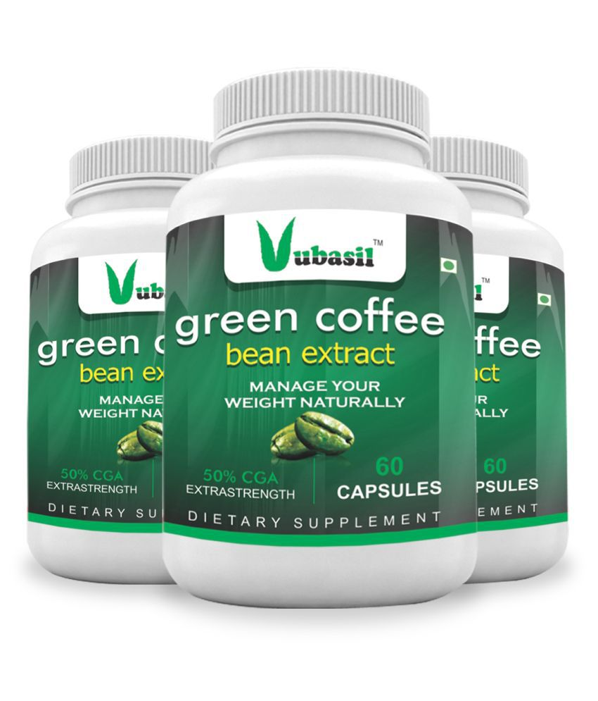 VUBASIL Best Green Coffee (180 Capsules) Weight Loss Fat Burner Lowers Sugar 800 mg Minerals Capsule