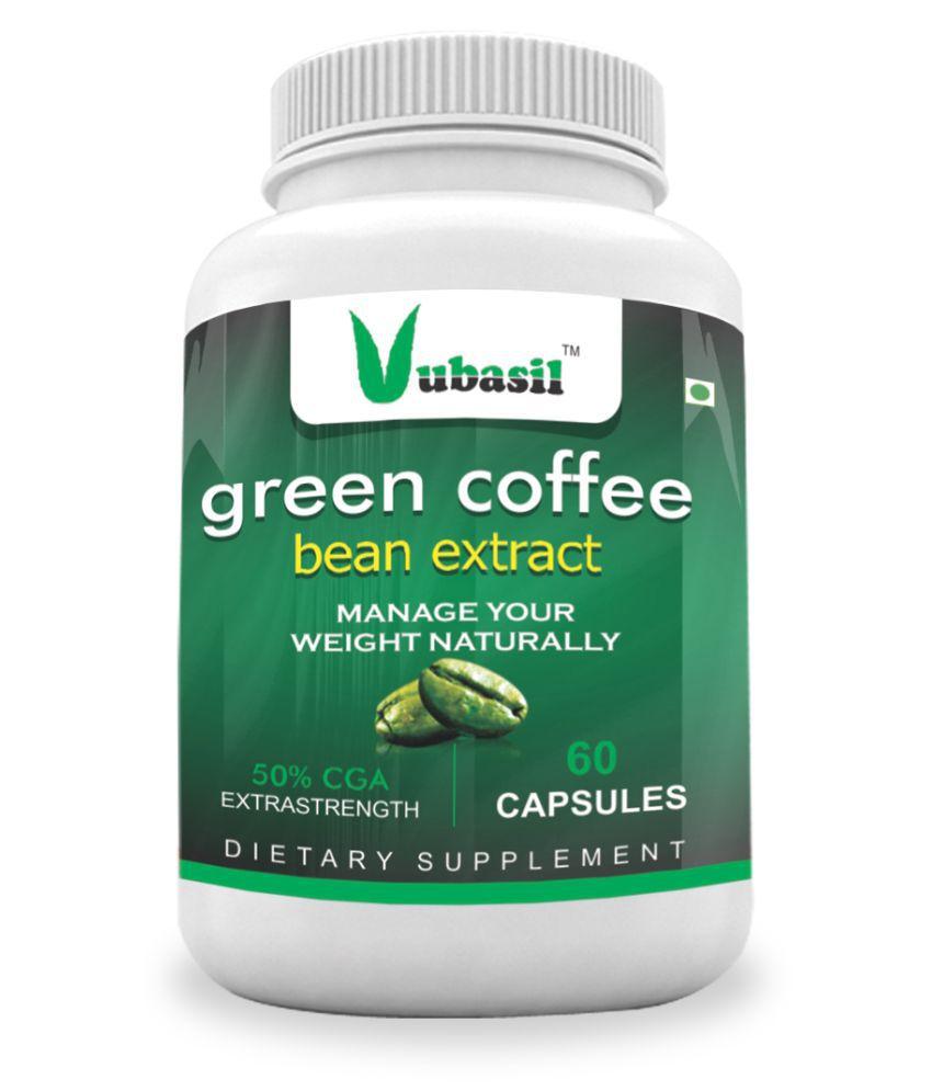 VUBASIL Best Green Coffee (60 Capsules) Weight Loss Fat Burner Natural Immunity, Metabolism & Memory Booster Enhances Digestion Lowers Blood Sugar Cholestrol 800 mg Unflavoured