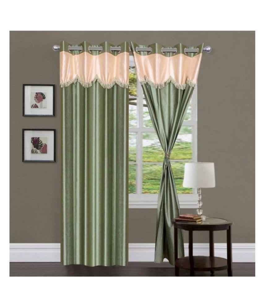Handloom Hub Set of 2 Door Eyelet Polyester Curtains Light Green