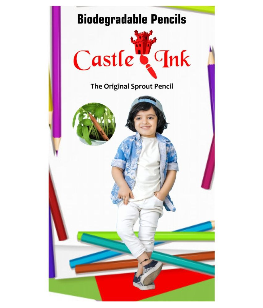 Castle Ink Biodegradable Pencil Pack of 12 with Barbie Colour Pens Pack of 12