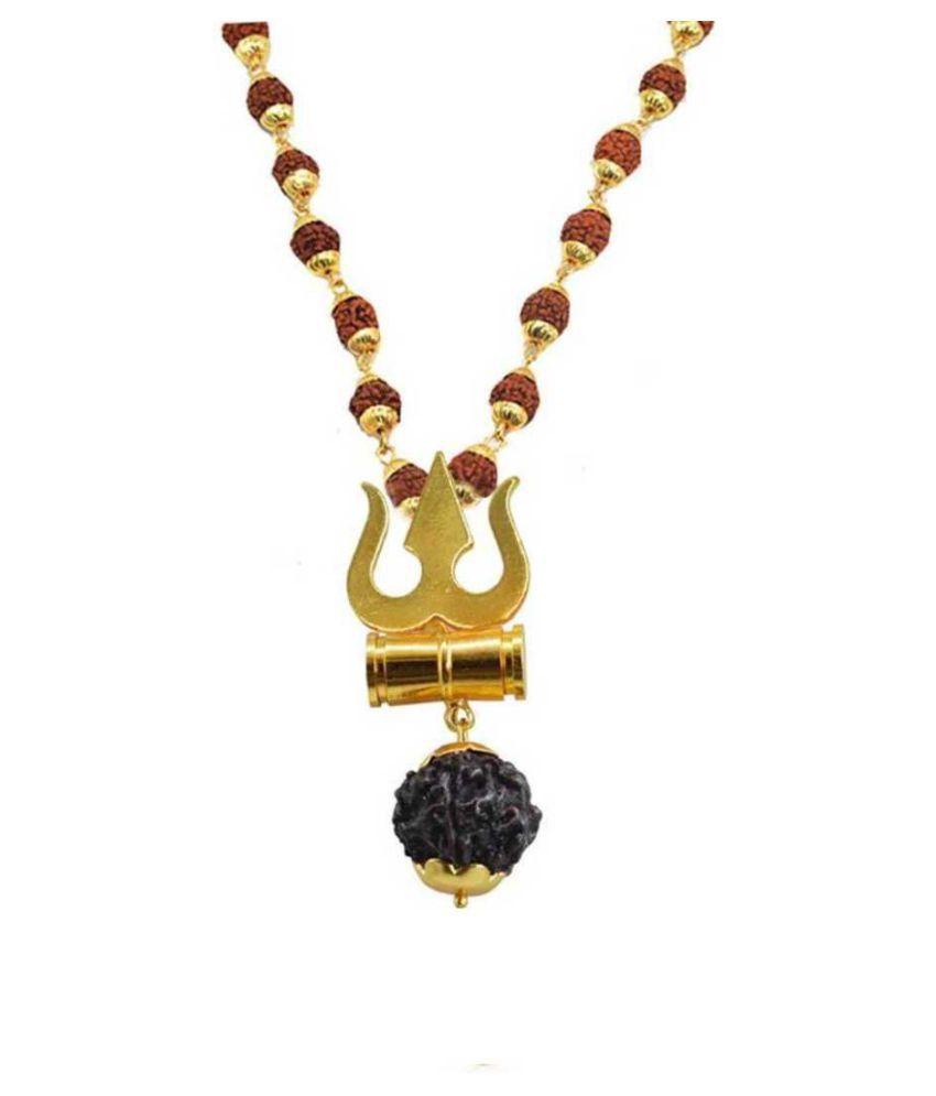 PAYSTORE Trishul Damru Locket With Puchmukhi Rudraksha Mala Gold-plated Brass