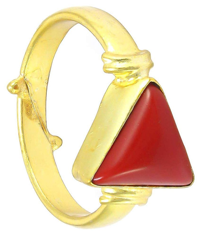 A1 Gems 7.25 Ratti 6.42 Carat A+ Quality Coral Moonga Gemstone Ring for Women's and Men's