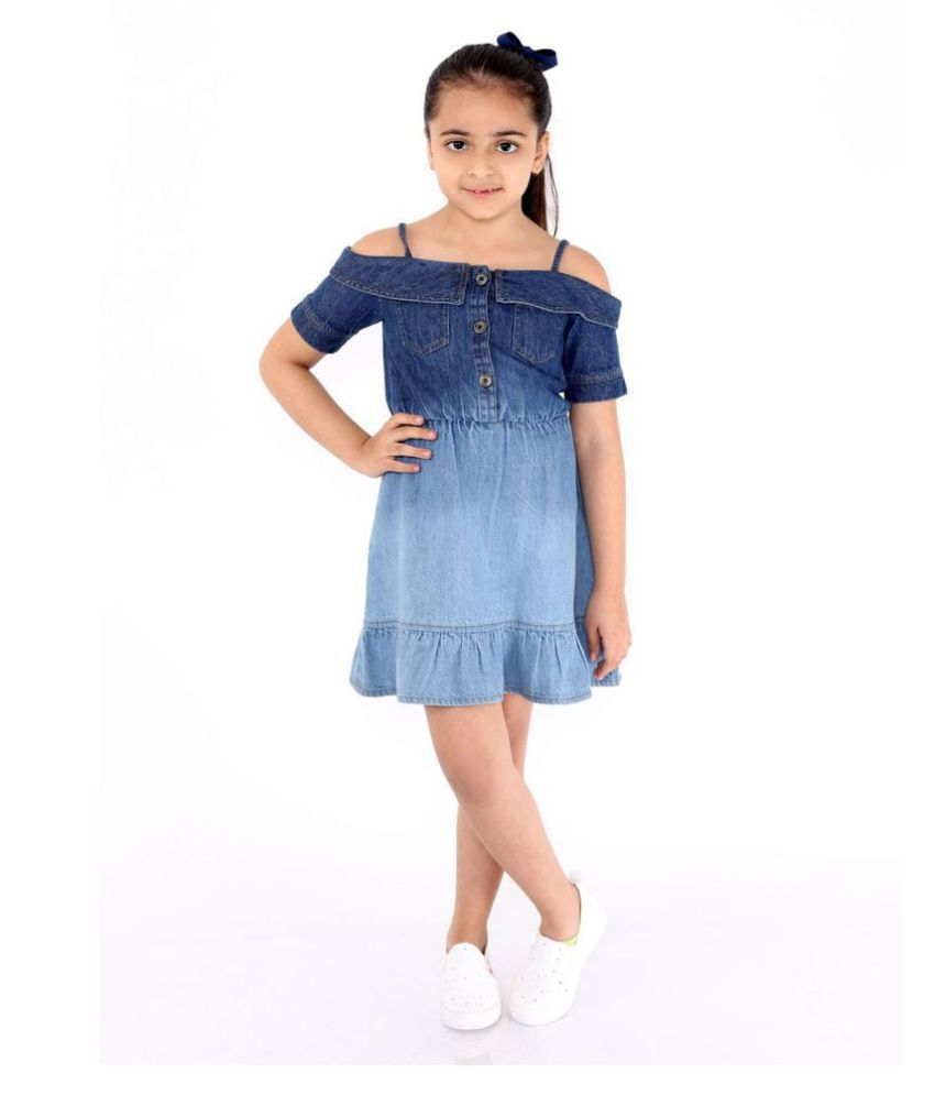 Girls Midi/Knee Length Casual Dress  (Blue, Half Sleeve)