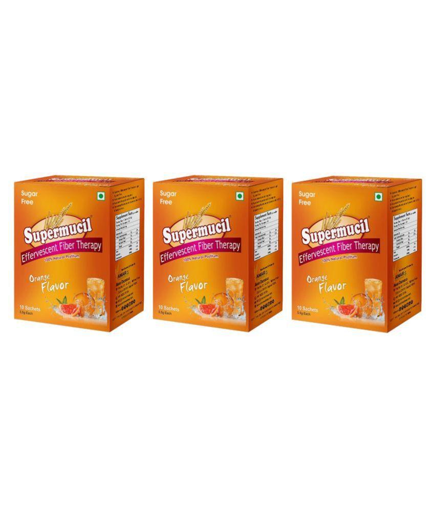 SUPERMUCIL Psyllium Effervescent: (5.5g) Sachets Powder 10 no.s Pack of 3