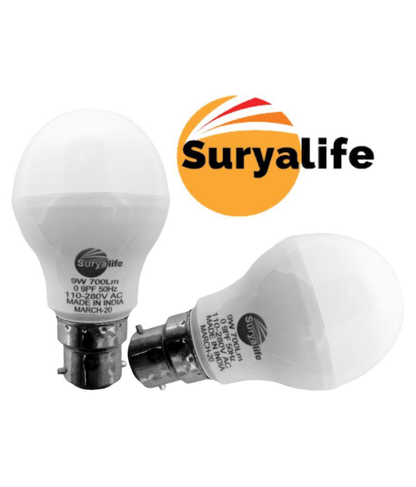 SURYALIFE 9Watt LED BULB (PACK OF 2) 9W LED Bulb Cool Day Light - Pack of 2