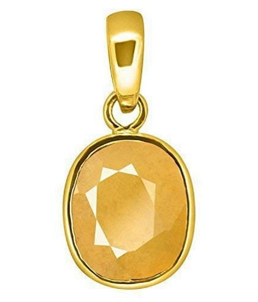 7.25 Carat Certified Unheated Untreatet Yellow Sapphire Pendant Locket September Birthstone A+ Quality Pukhraj Natural Original Oval Cut Gold Platted Pushpraj Pendant for Men and Women