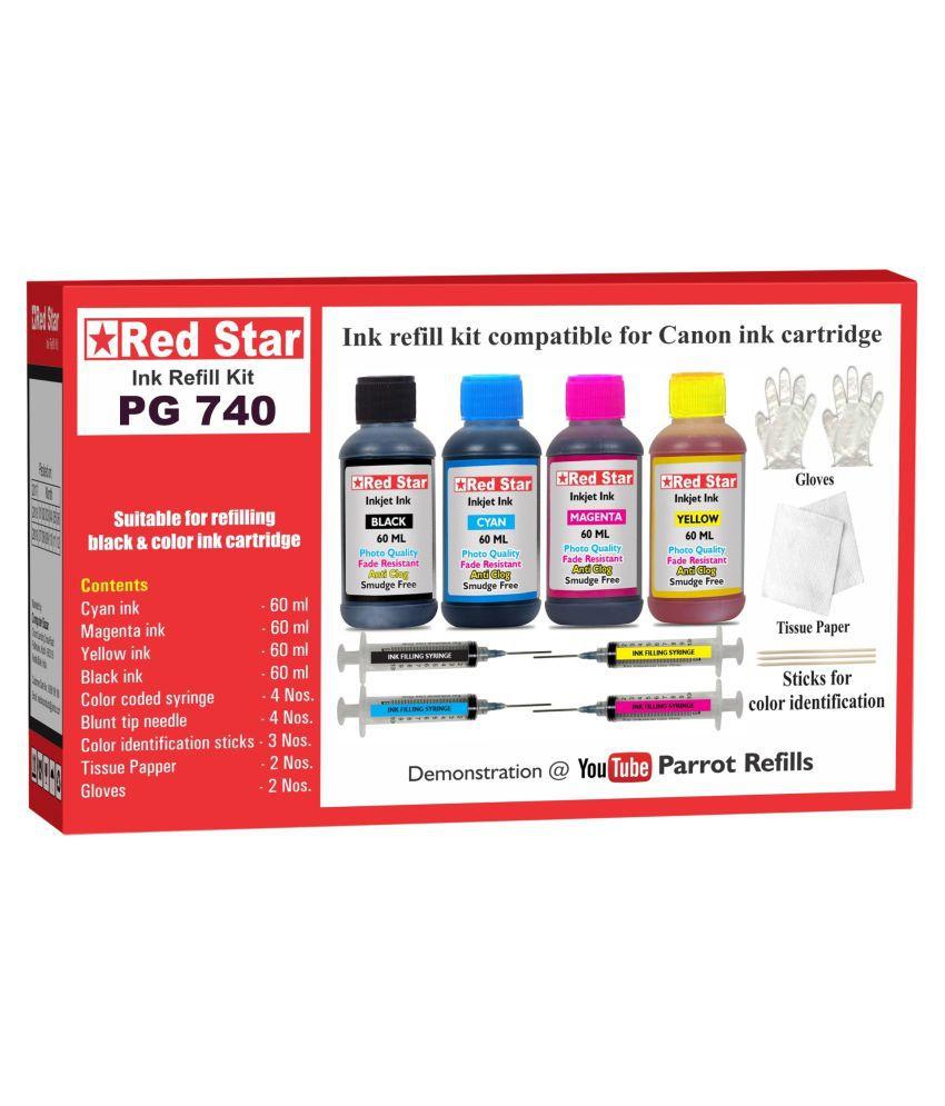 RED STAR INK REFILL KIT Multicolor Four bottles Refill Kit for Canon Pixma PG 740 black  amp; CL 741 color ink cartridge