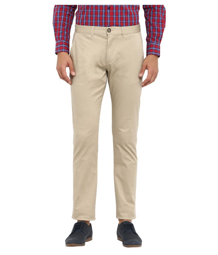 Red Tape Beige Slim -Fit Trousers