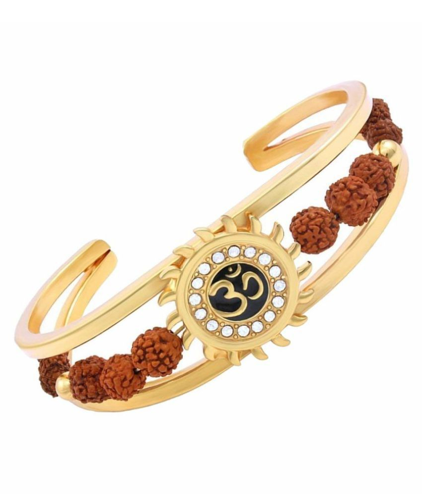 bhaune collections High Quality Gold Plated Brass Om Mens Kada (adjustable Size)