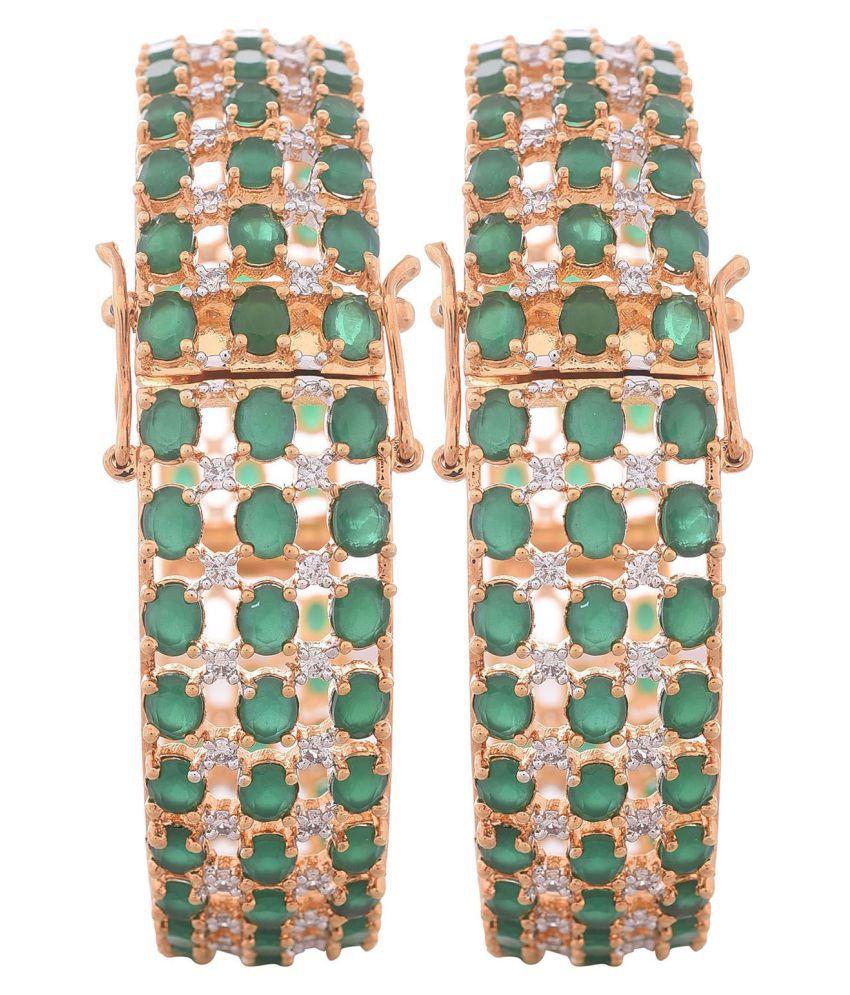RATNAVALI Jewels American Diamond Gold Plated Green Emerald Openable Traditional Partywear Kada Bangle Set For Women/Girls RV2647G
