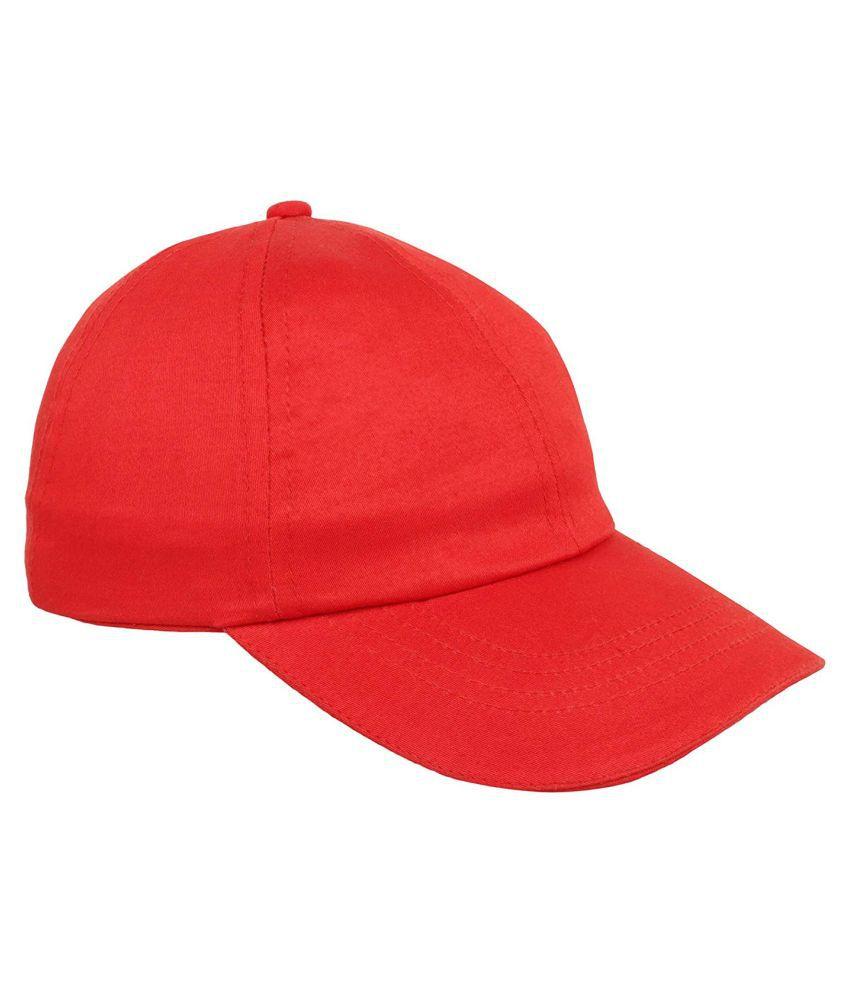 SUNSHOPPING Red Plain Cotton Caps