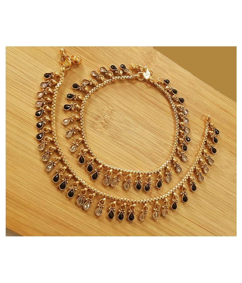 Mrigangi Fancy Bridal Paan Stone Gold Plated Polki Fashion Payal (Golden, Black)