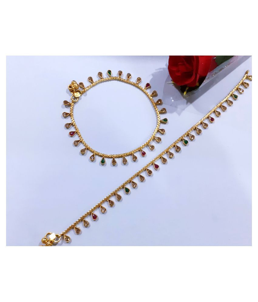 Mrigangi Paan stone antique payal in gold plating for girls and women