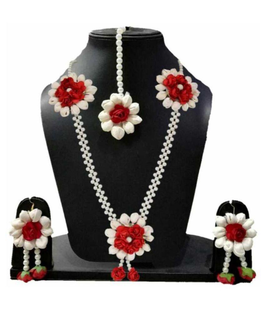LAMANSH Jewellery Set For Haldi Mehendi Flower Jewellery Set For Engagement Artificial Jewelry For Wedding & Mehendi