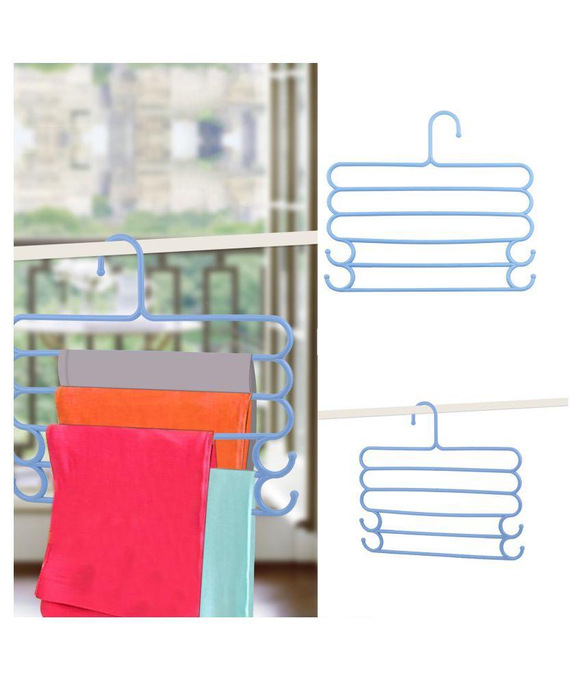 Silver Shine 5 Layer Pants  Clothes Tie Belt Hanger Wardrobe Storage Organizer Rack 30l x w 35 x 30h cm (Blue  Color)