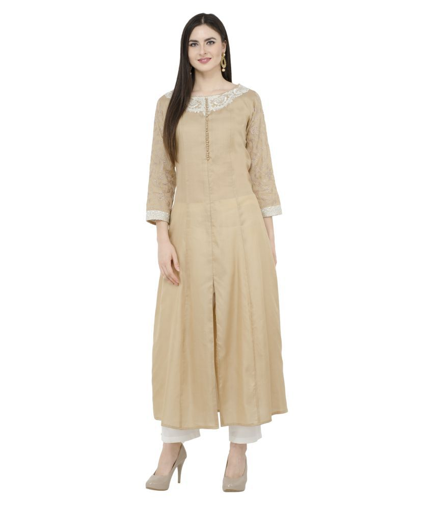 katyal's couture Gold Cotton A-line Kurti