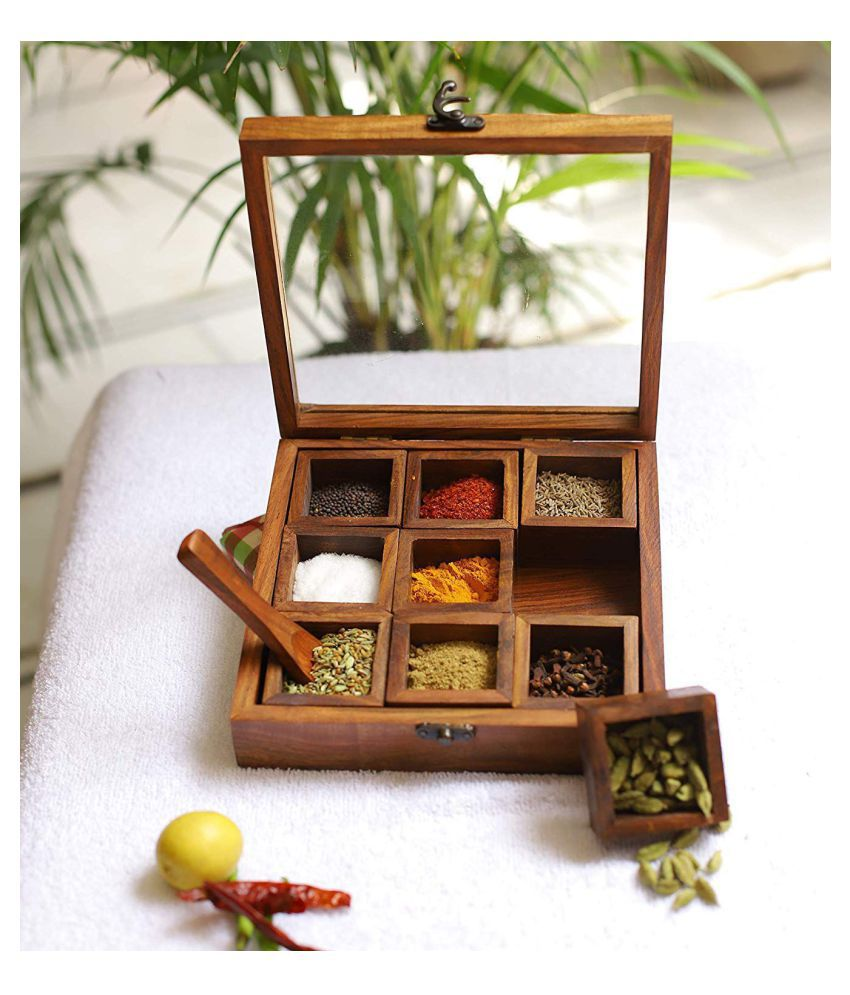 Handicraft Spices Box Wooden Spice Container Set of 9
