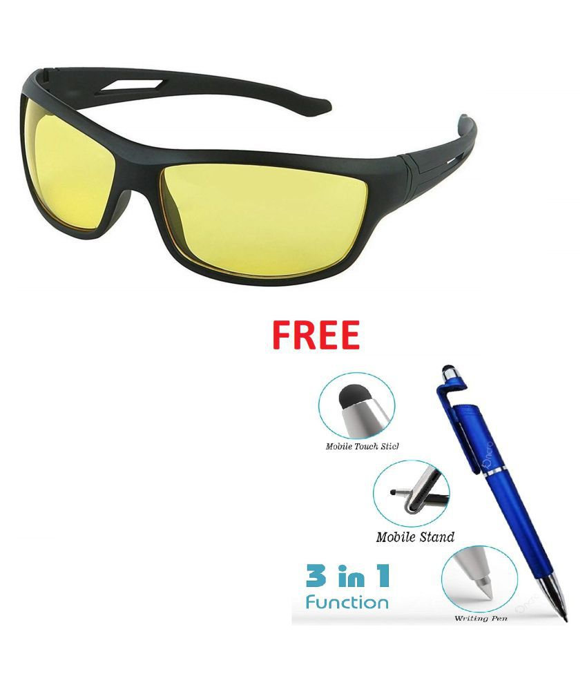 Synbus Black Frame Yellow Shade Lense Night Vision Biker Sports Sunglasses for Men & Women Pack of 1 With Free 3 In 1 Wipe Pen\n