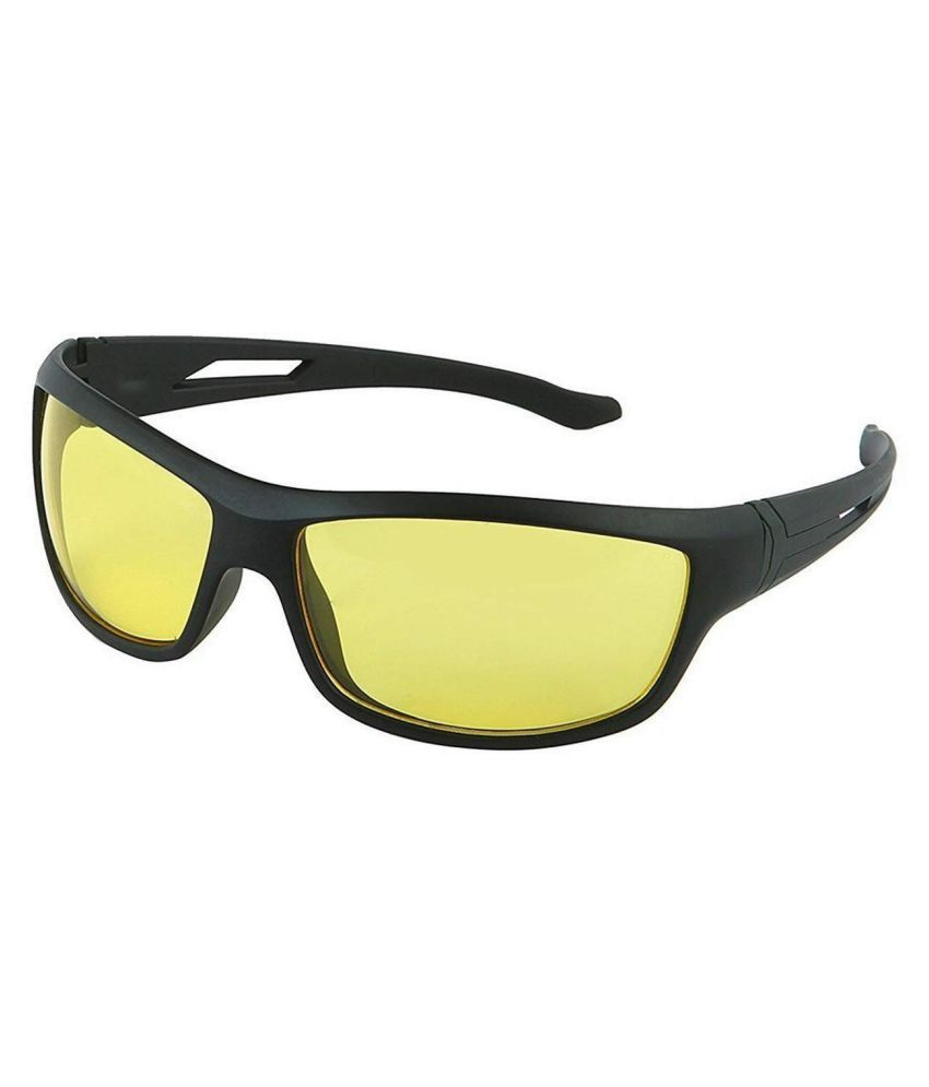 Unisex Day and Night HD Vision Anti-Glare UV Protected Sunglass for Driving (Yellow) Pack of 1