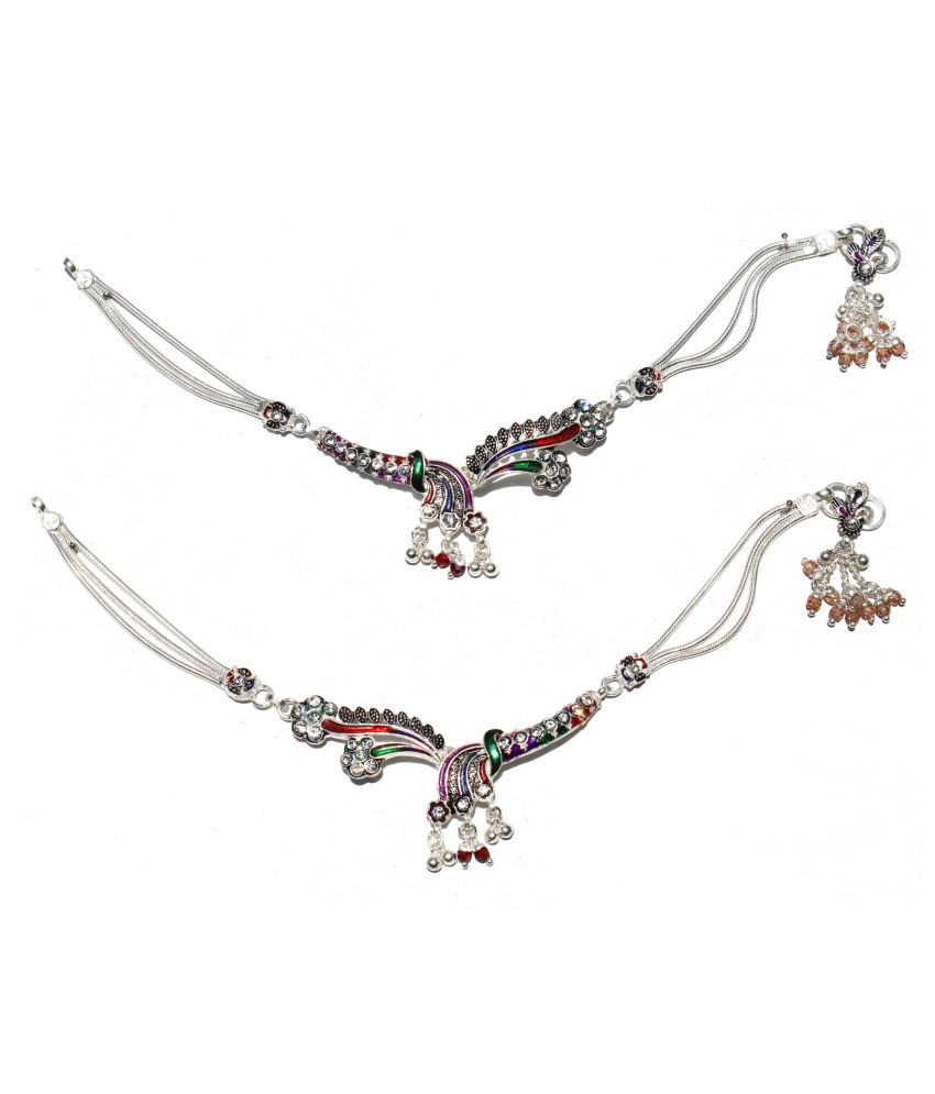 R K JEWELLERS- Pure Silver Ramleela Style Payal or Anklet 10.5 Inch
