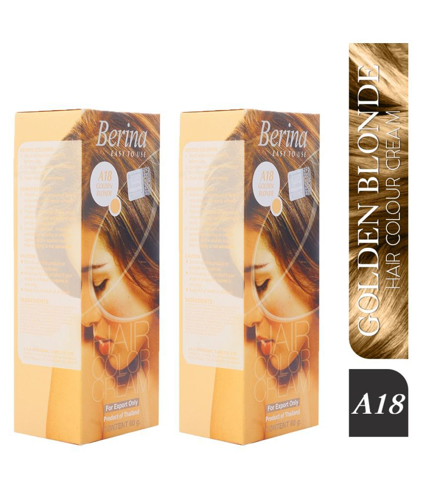 Berina A18 Golden Semi Permanent Hair Color Blonde 60 g Pack of 2