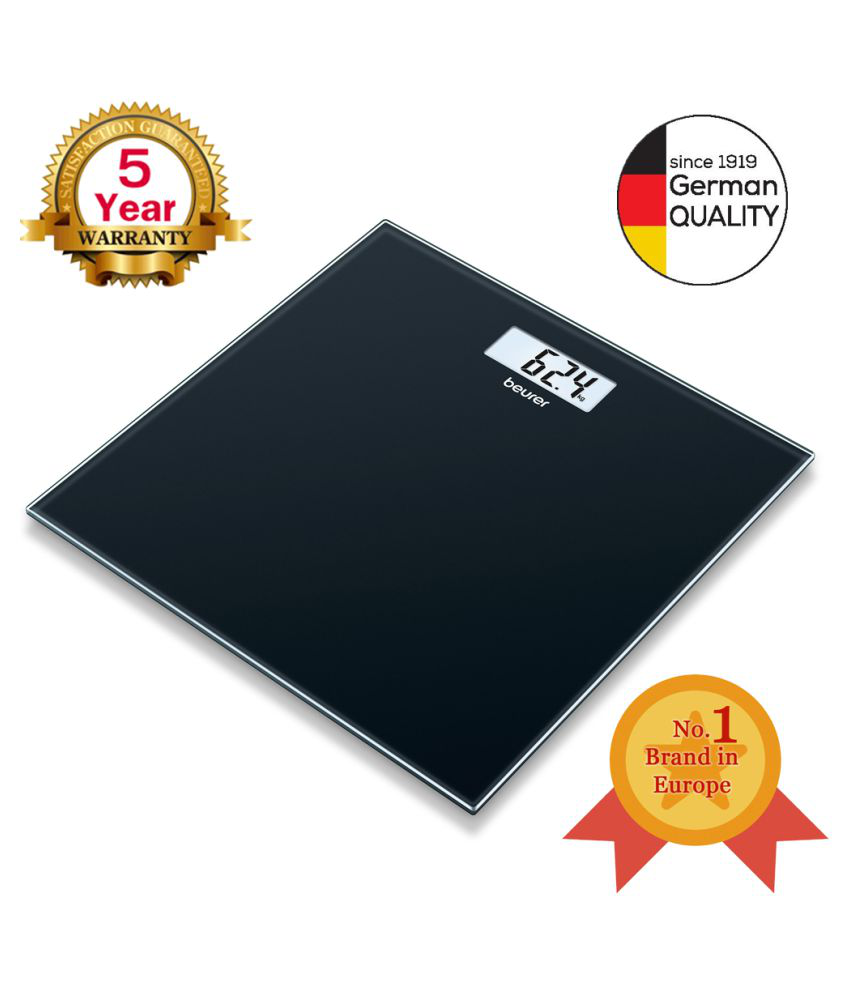 Beurer GS 10 glass bathroom scale with Easy-to-read LCD display, Automatic switch-off, overload indicator,180 kg capacity,Slim design only 19 mm and 5 Years Warranty (GS10) (Grey)