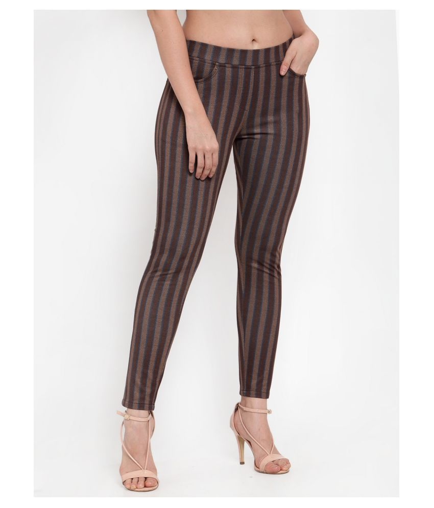 Westwood Cotton Lycra Jeggings - Brown