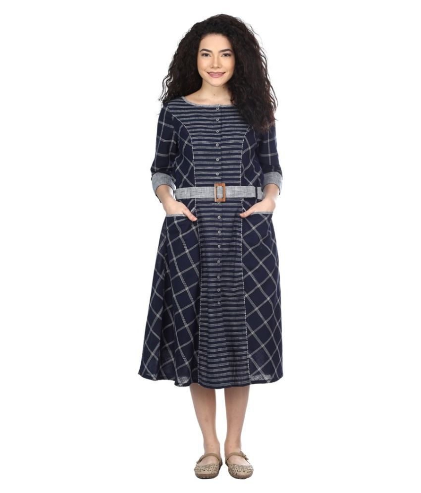 litlu Cotton Navy Regular Dress
